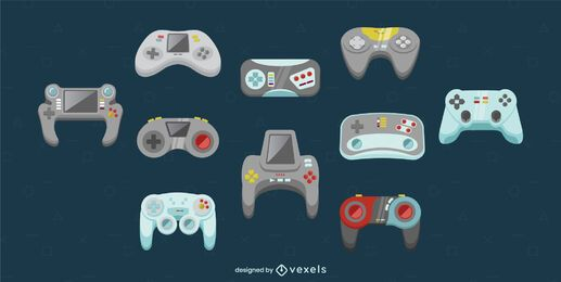 Gaming consoles joystick illustration set