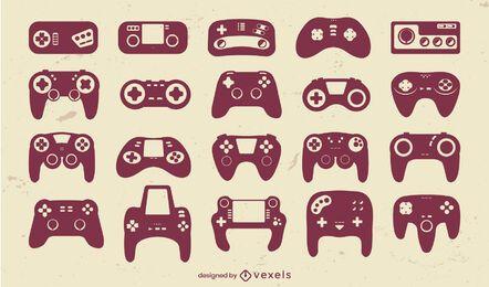 Consolas de juegos joystick recortadas set