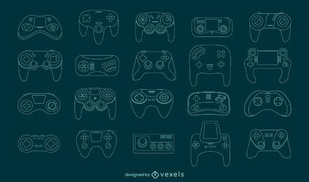 Gaming consoles joystick line art set