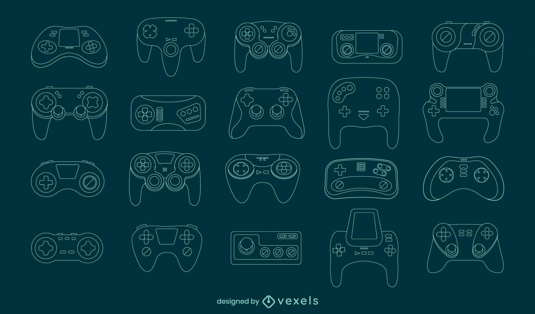 Consolas de juegos joystick line art set