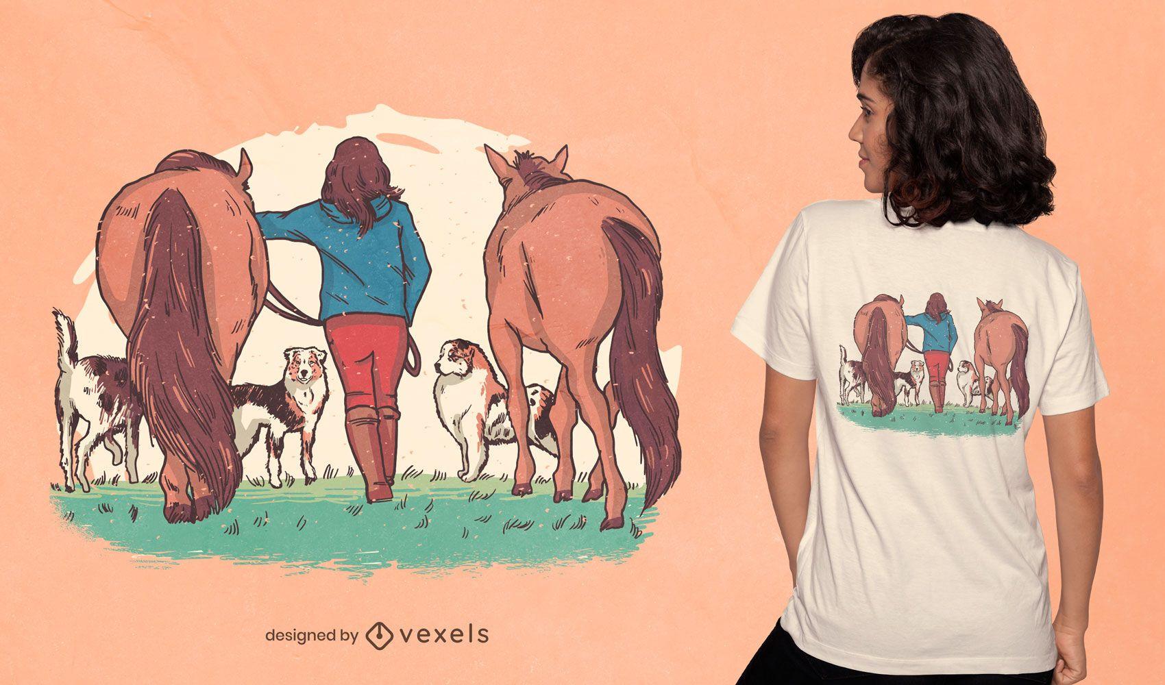 Diseño de camiseta de vista trasera de mujer de granja