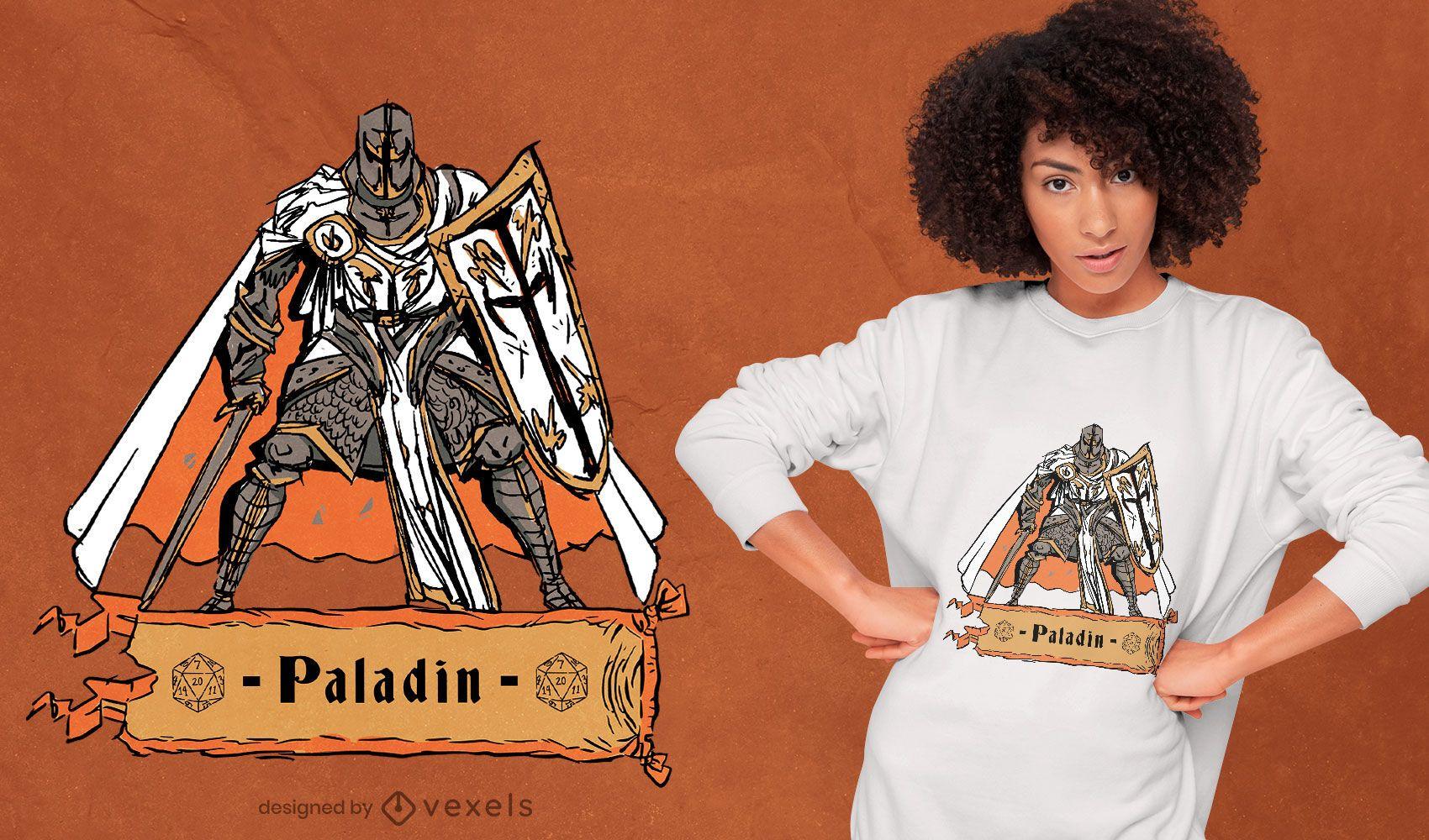 Diseño de camiseta de personaje de juego de rol de paladín.