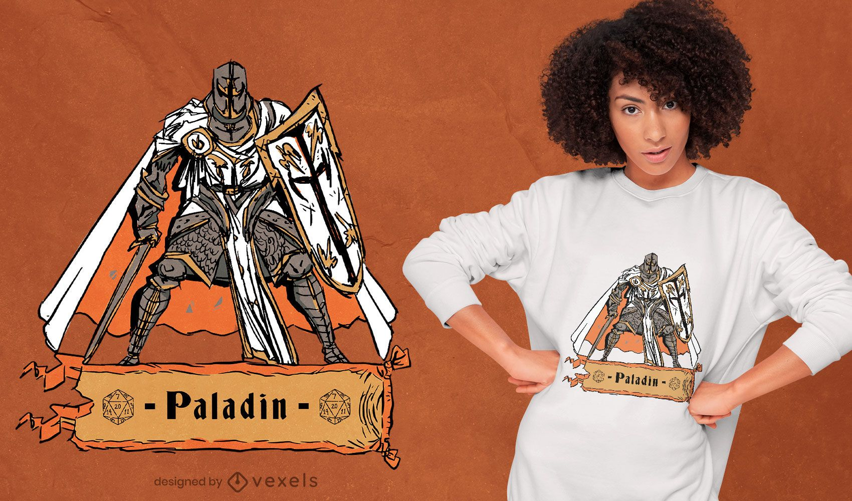 Paladin role playing character t-shirt design