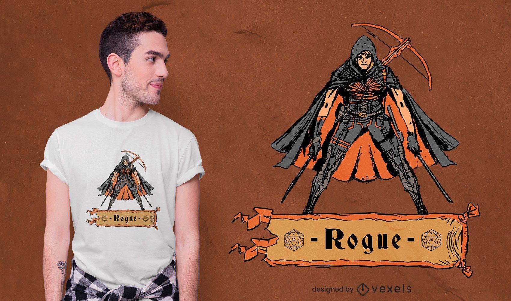 Diseño de camiseta de personaje de juego de rol pícaro.