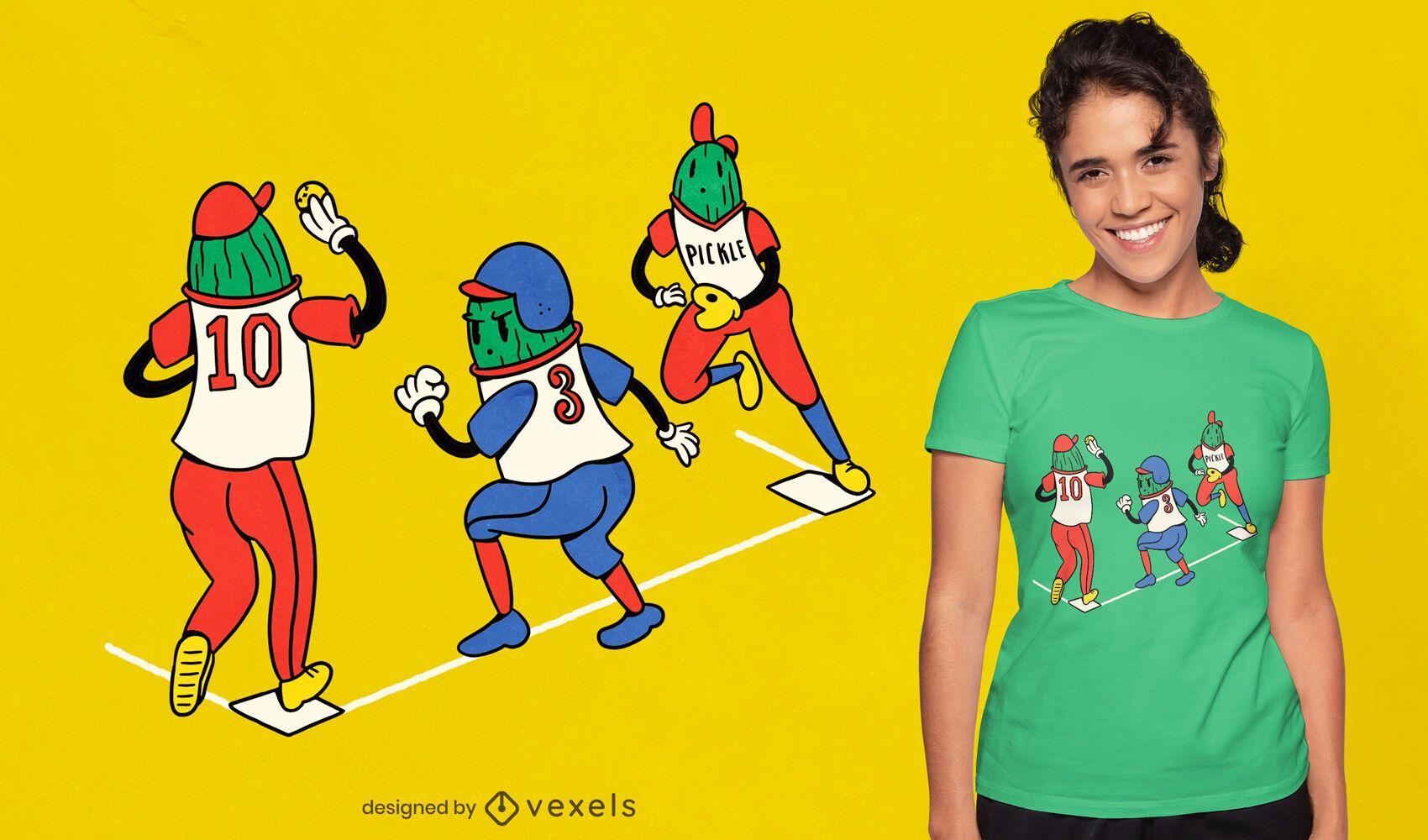 Diseño de camiseta de dibujos animados de béisbol pickles