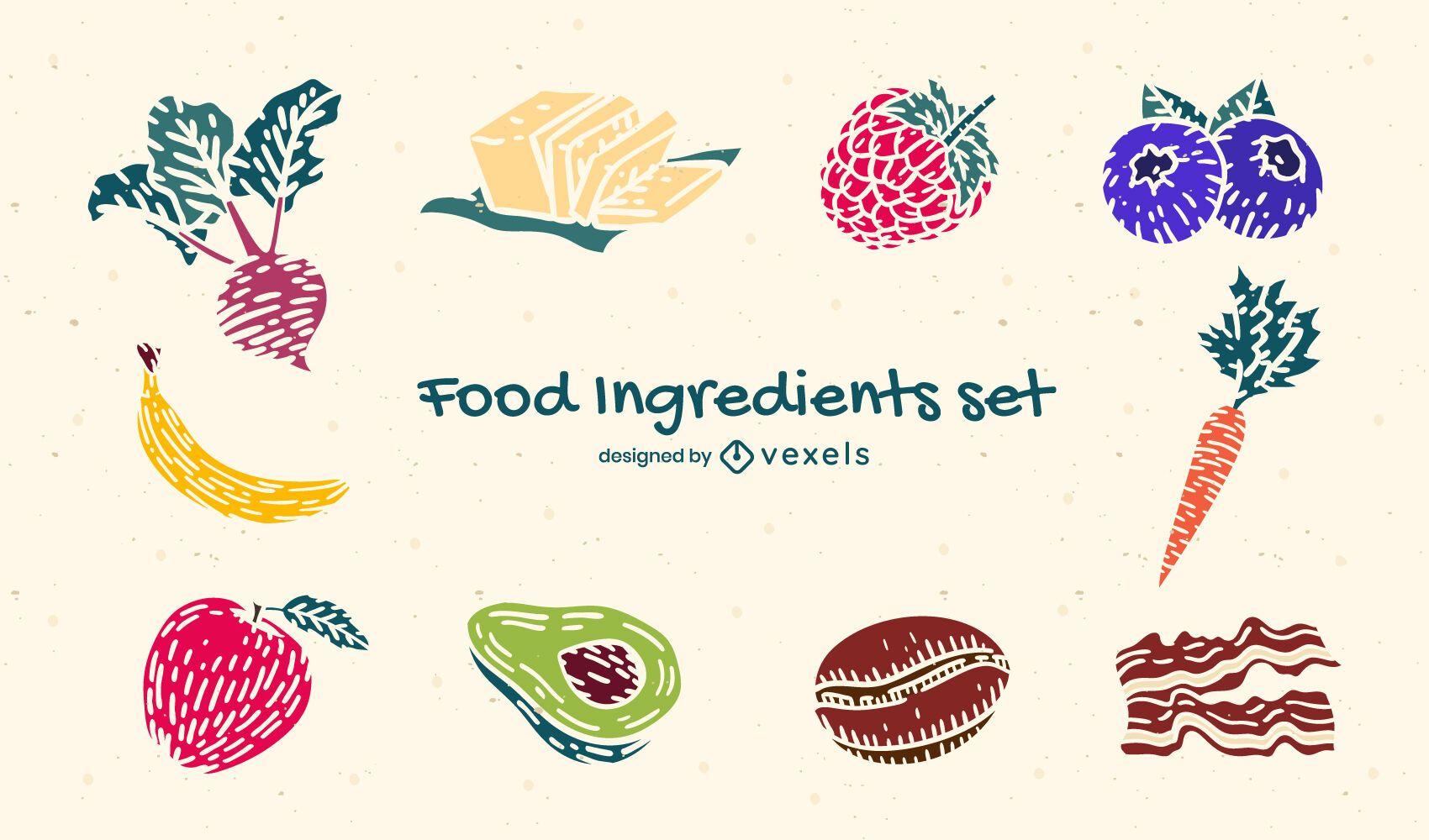 Conjunto de naturaleza de ingredientes de alimentos saludables