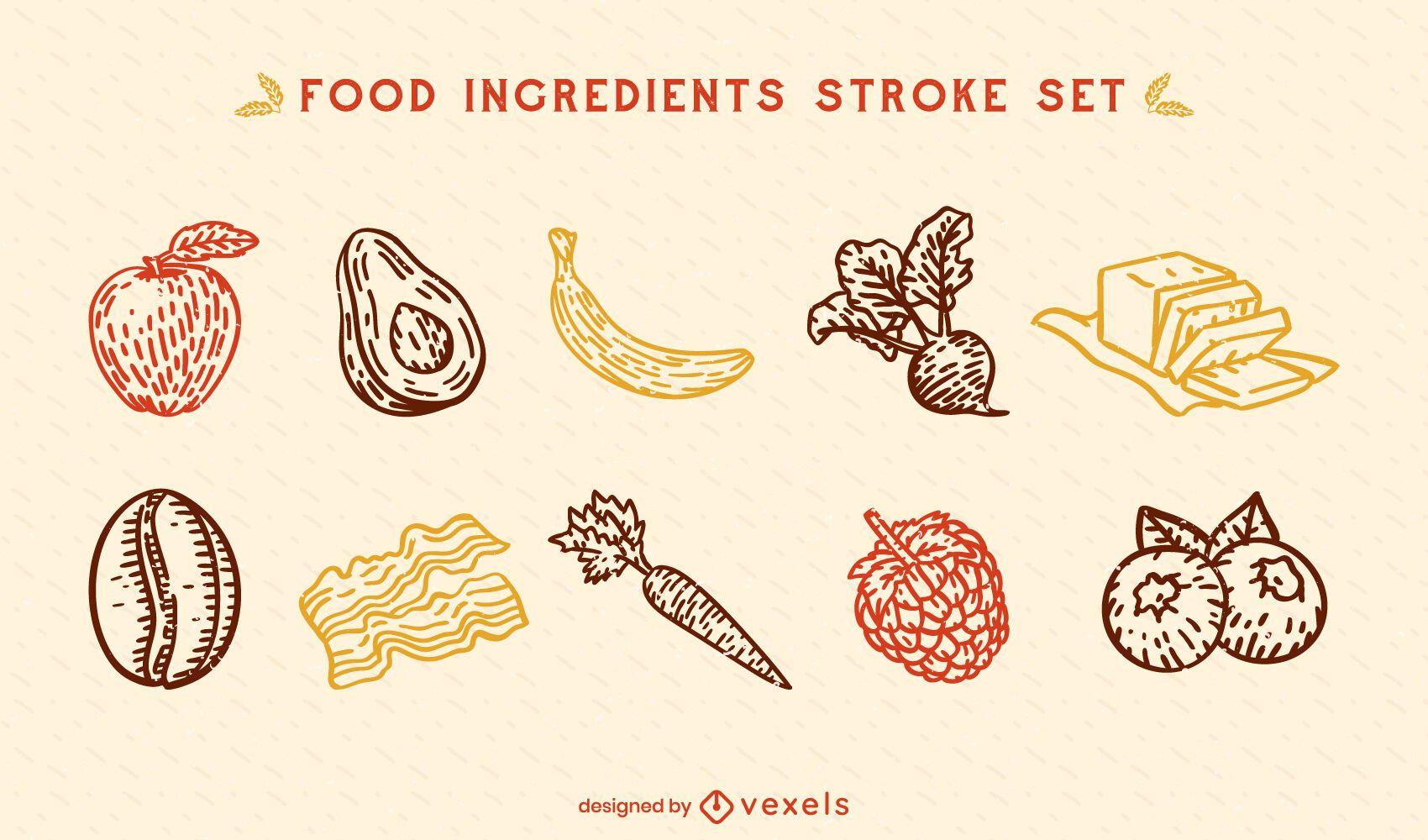 Conjunto de trazos de ingredientes de alimentos saludables