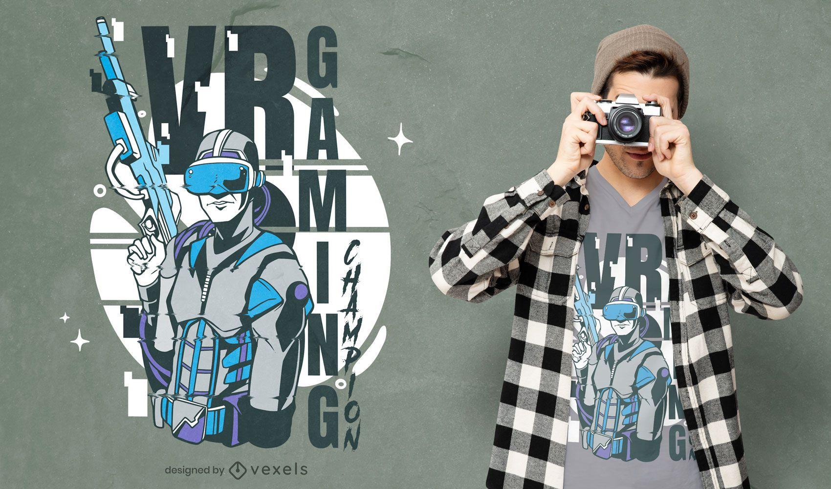 Diseño de camiseta de tirador de jugador de juego de realidad virtual.