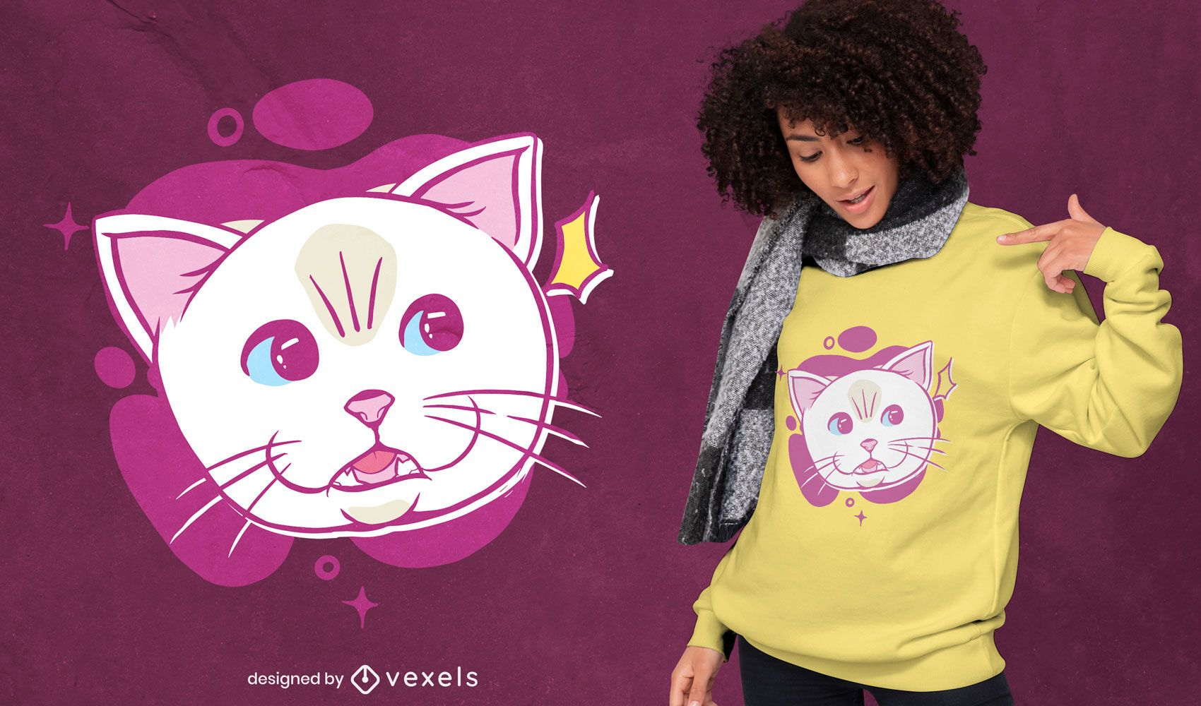 Diseño de camiseta de cara de dibujos animados de gato blanco