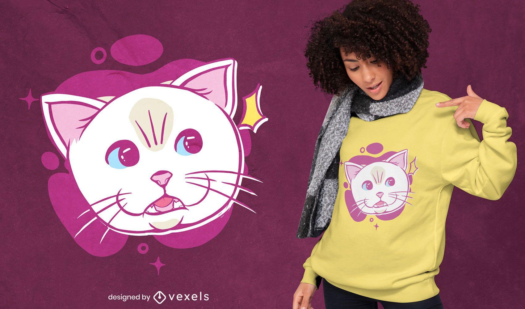 White cat cartoon face t-shirt design