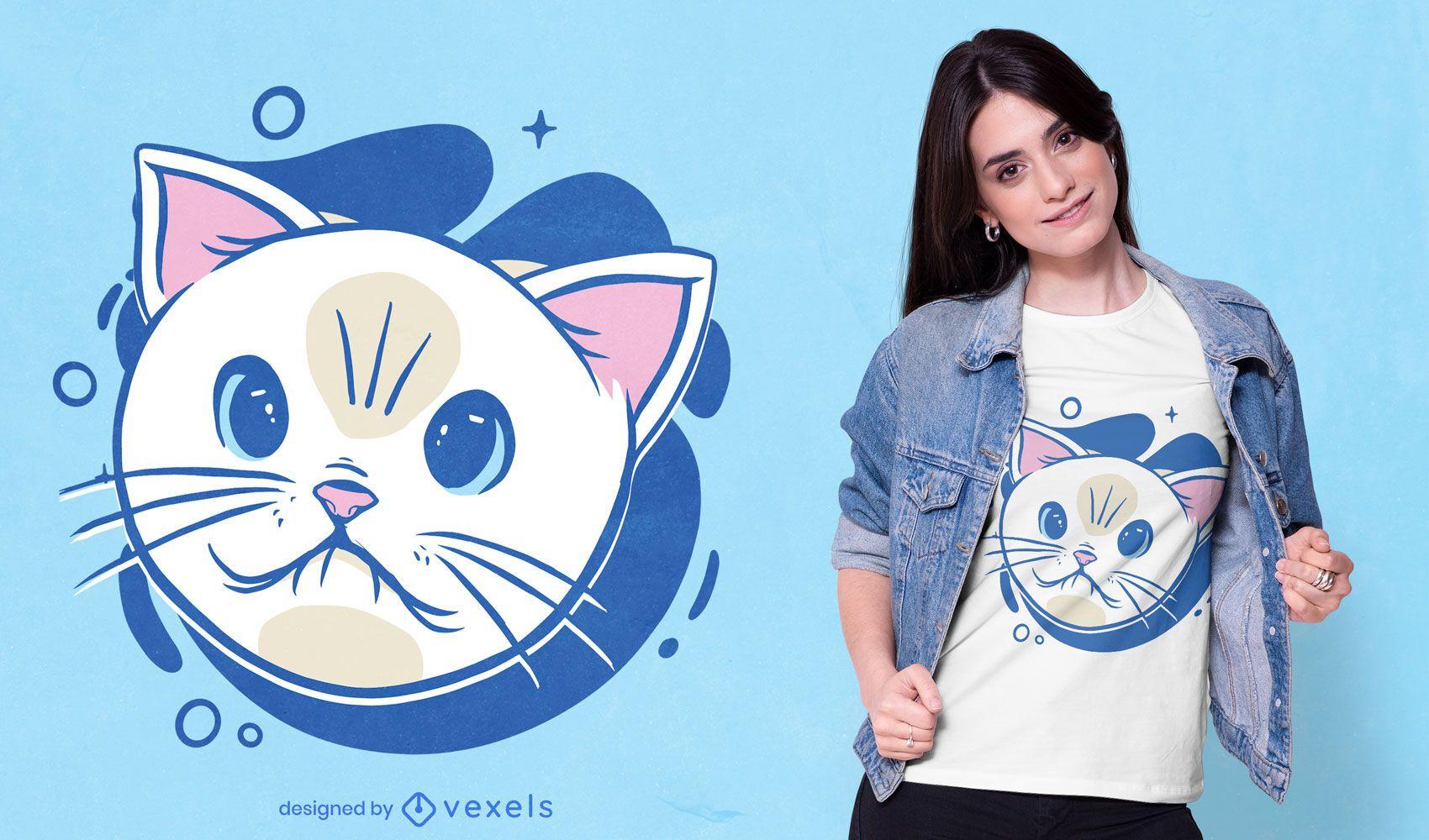 Diseño lindo de la camiseta de la cara de la historieta del gato blanco