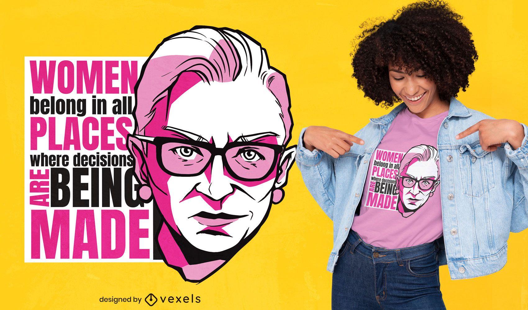Diseño de camiseta de cita de empoderamiento de mujeres.