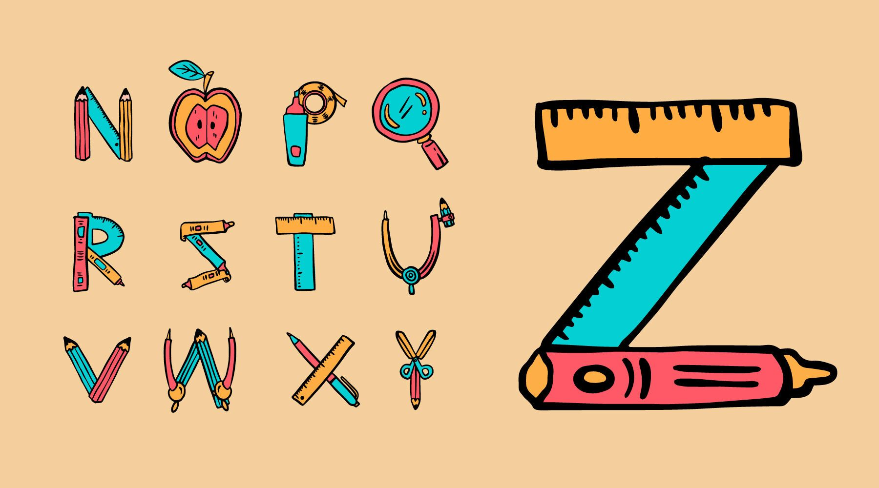 Conjunto de útiles escolares para niños del alfabeto.