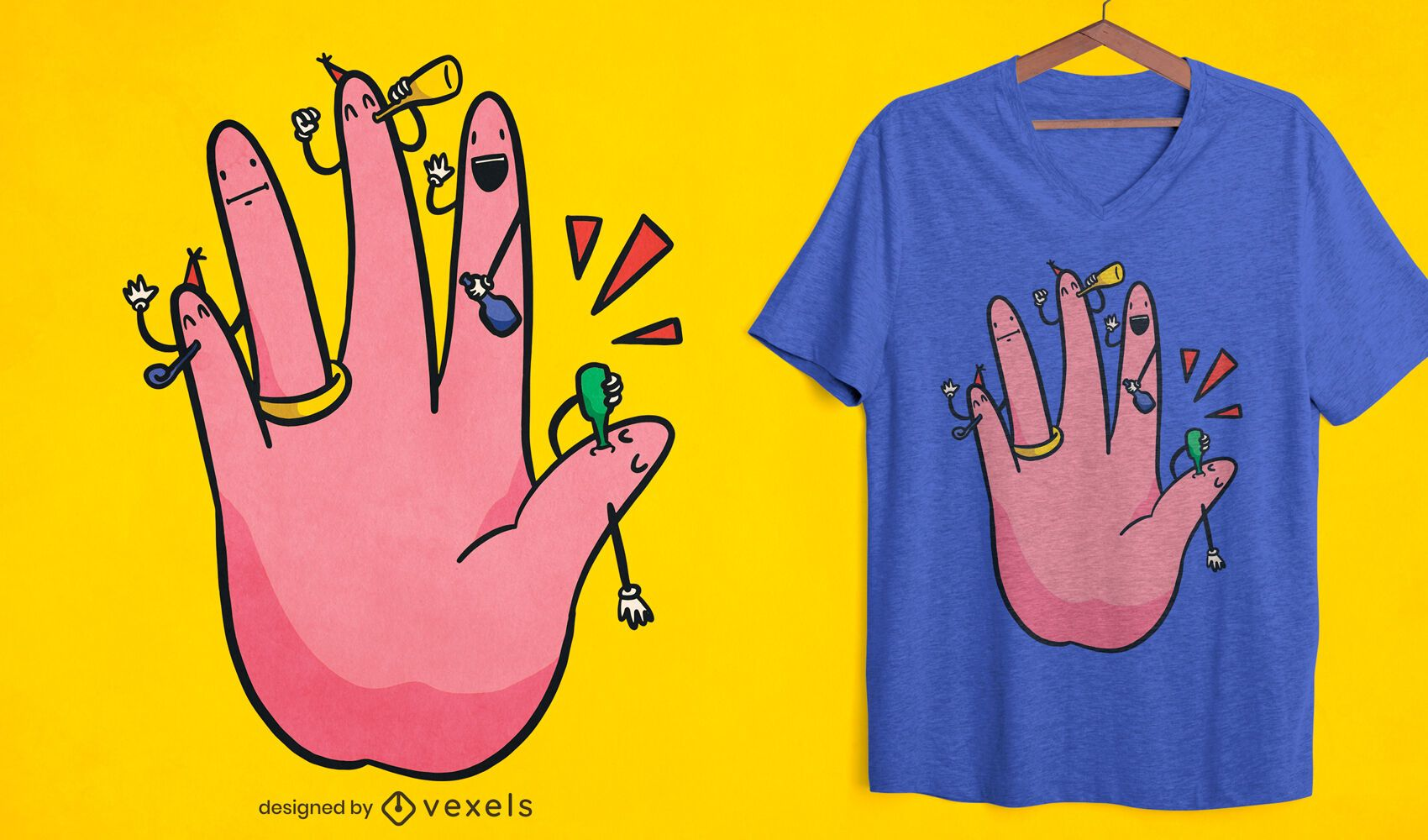 Engagement hand party t-shirt design