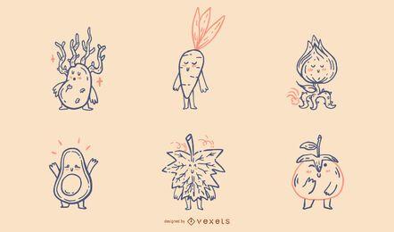 Conjunto de arte de línea de naturaleza de vegetales kawaii