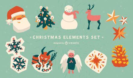 Conjunto de elementos do feriado do dia de Natal