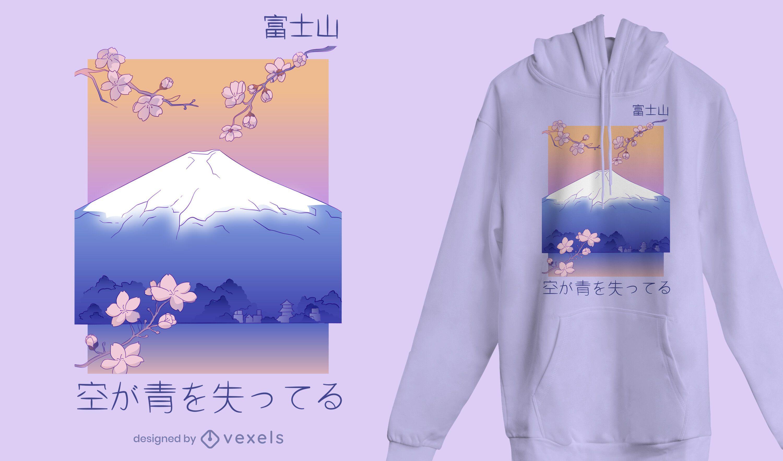 Diseño de camiseta de paisaje de montaña japonesa.