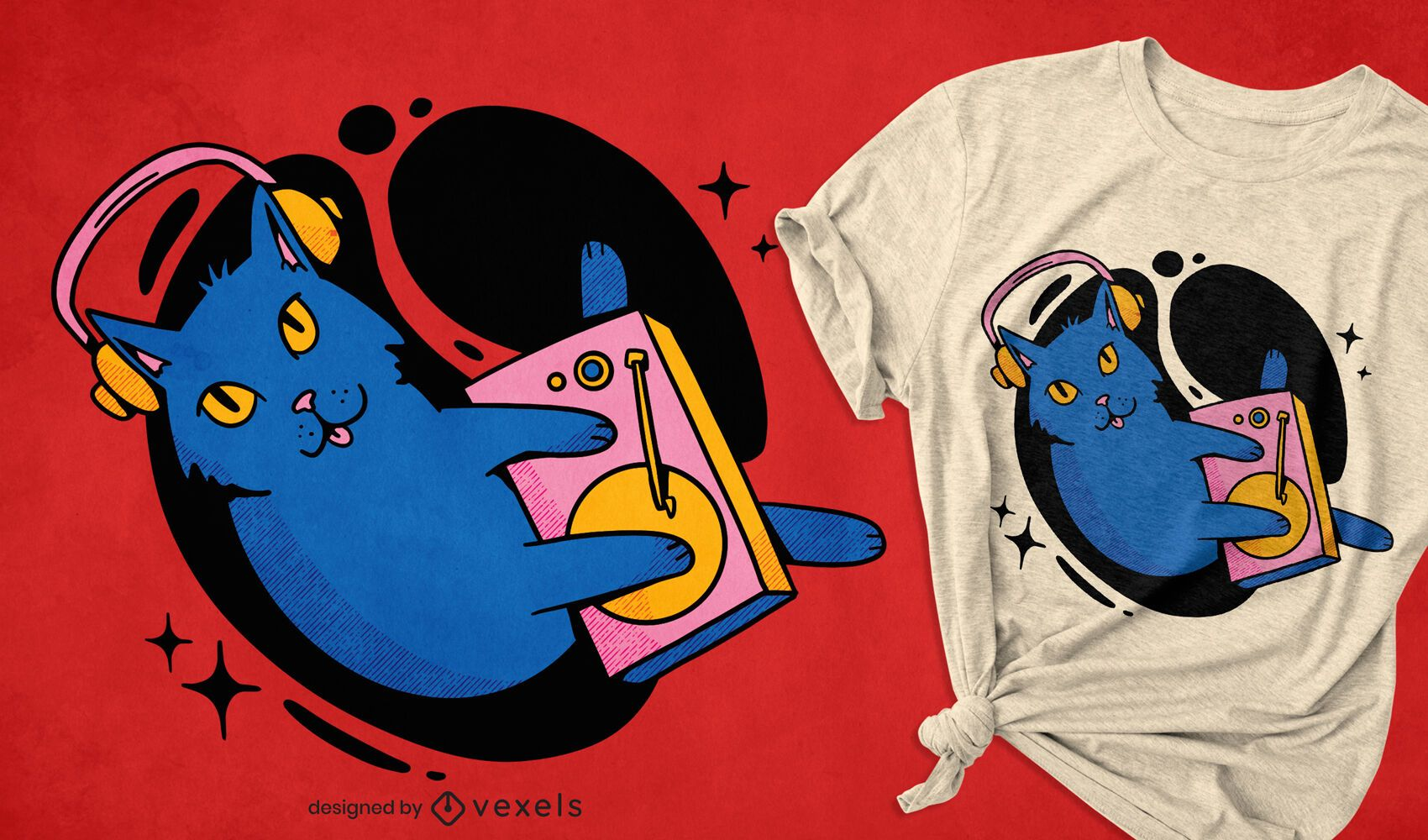 Buntes Katzen-DJing-T-Shirt-Design