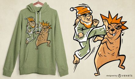 Karate character fight t-shirt design