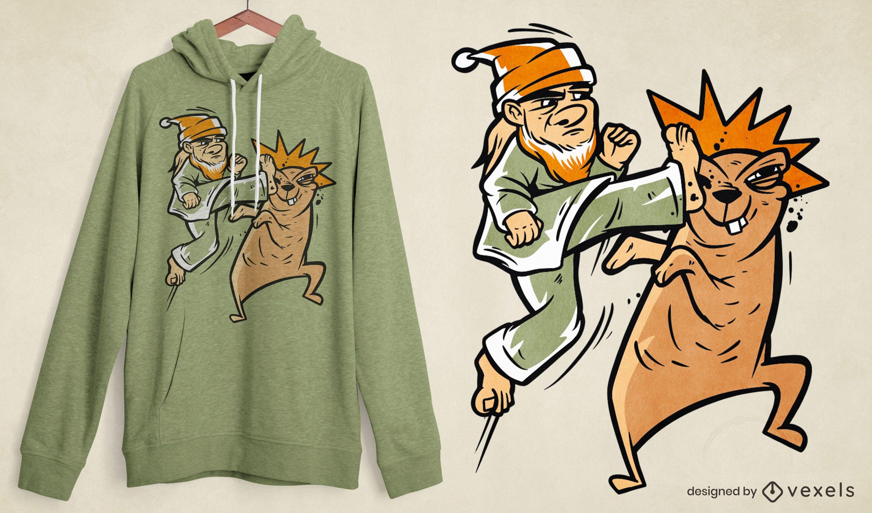 Diseño de camiseta de lucha de personajes de karate.