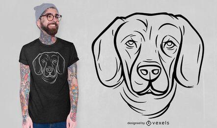Desenho de t-shirt com linha de cara de cão