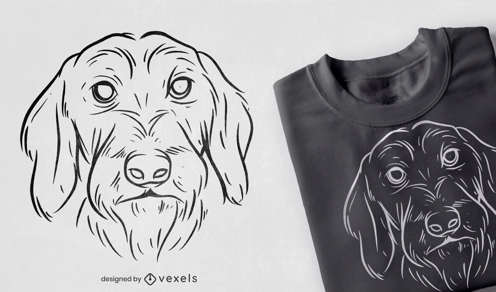 Desenho de camiseta desenhada à mão com cara de cachorro peludo