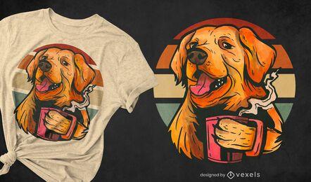 Golden Retriever Hund Kaffee T-Shirt Design