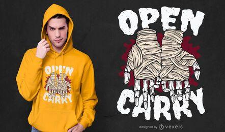 Desenho de t-shirt de boxe com mãos esqueléticas