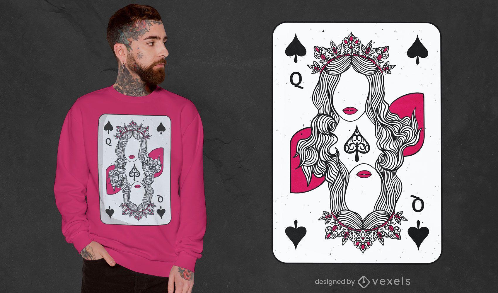 Diseño de camiseta de reina de espadas.