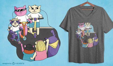 Gatos de dibujos animados en diseño de camiseta de scooters