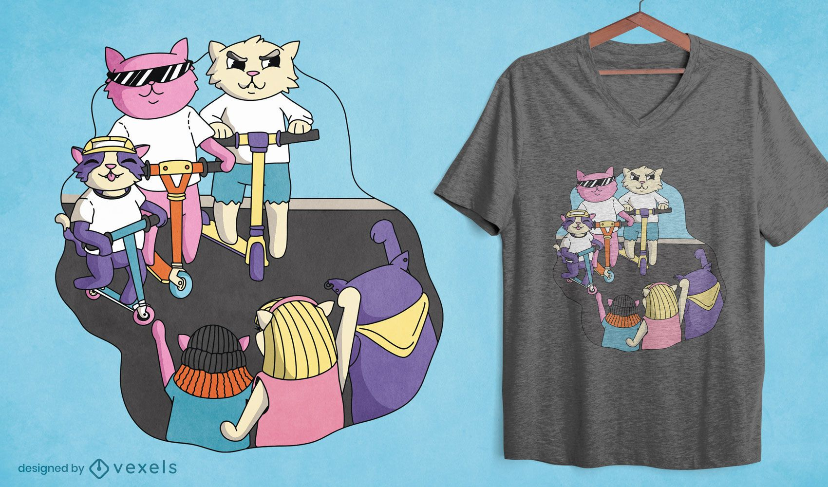 Cartoon cats in scooters t-shirt design