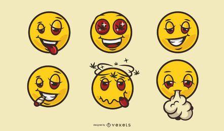 Funny smiley faces cannabis cartoon set