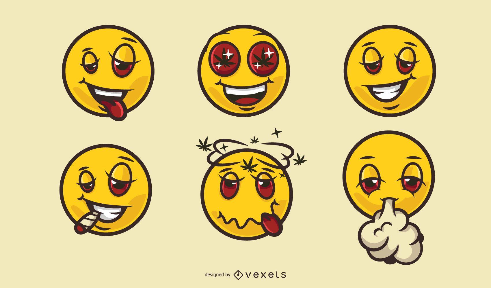Conjunto de dibujos animados de cannabis de caras sonrientes divertidas