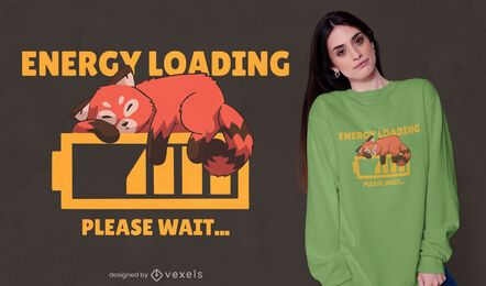 Red panda energy loading t-shirt design