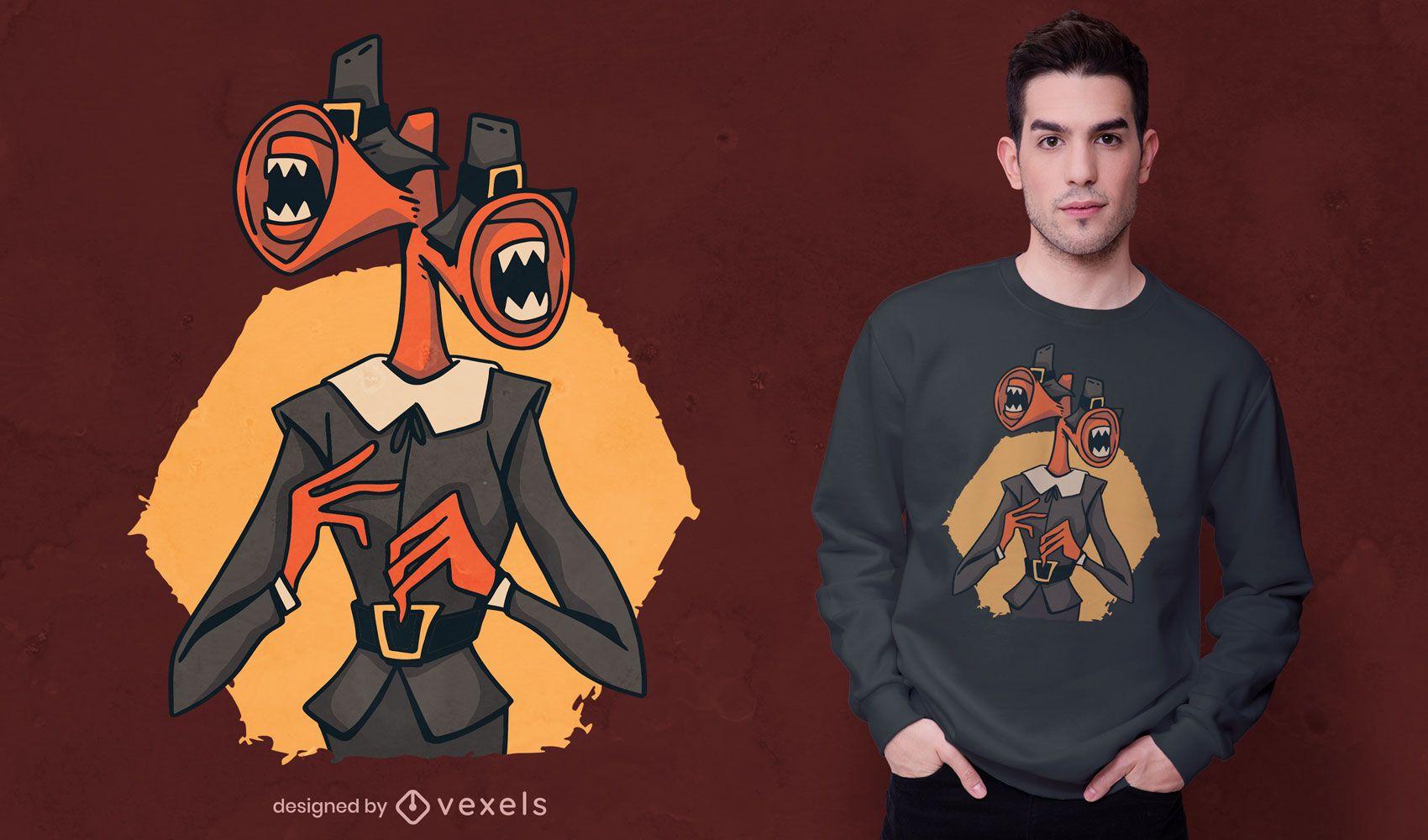 Pilgrim monster thanksgiving t-shirt design