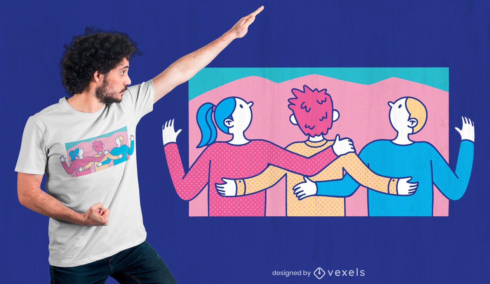 Three friends hugging t-shirt design
