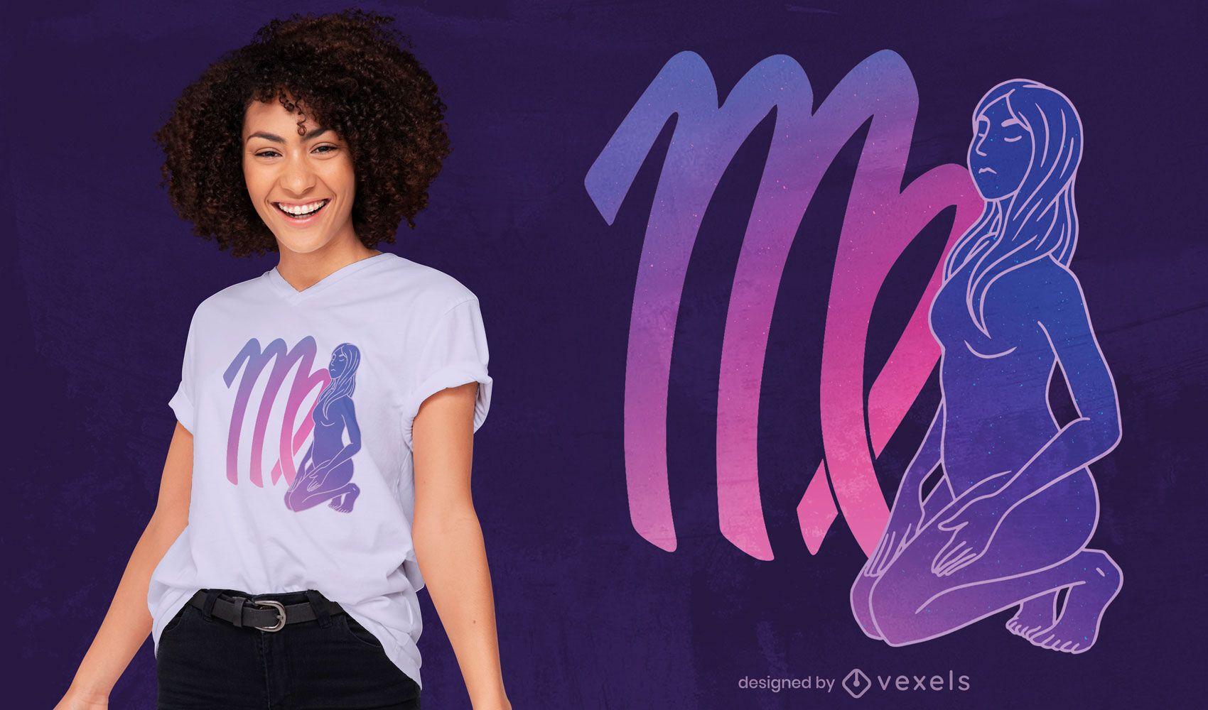 Diseño de camiseta mística del signo del zodiaco virgo