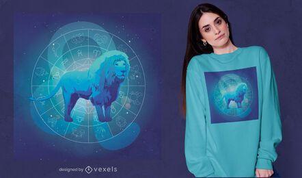 Diseño de camiseta de signo del zodiaco leo león