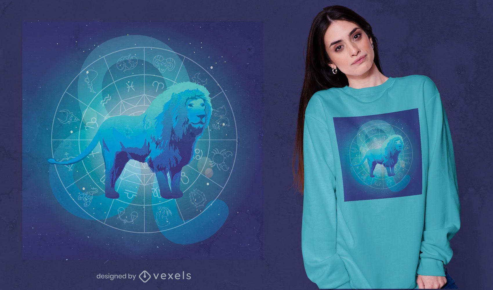 Design de camiseta do signo do zodíaco Leo Leão