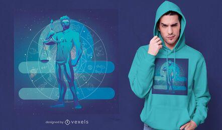 Diseño de camiseta de equilibrio de libra del signo del zodiaco
