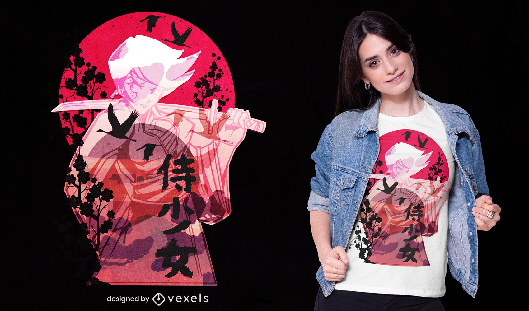 Samurai woman anime t-shirt design