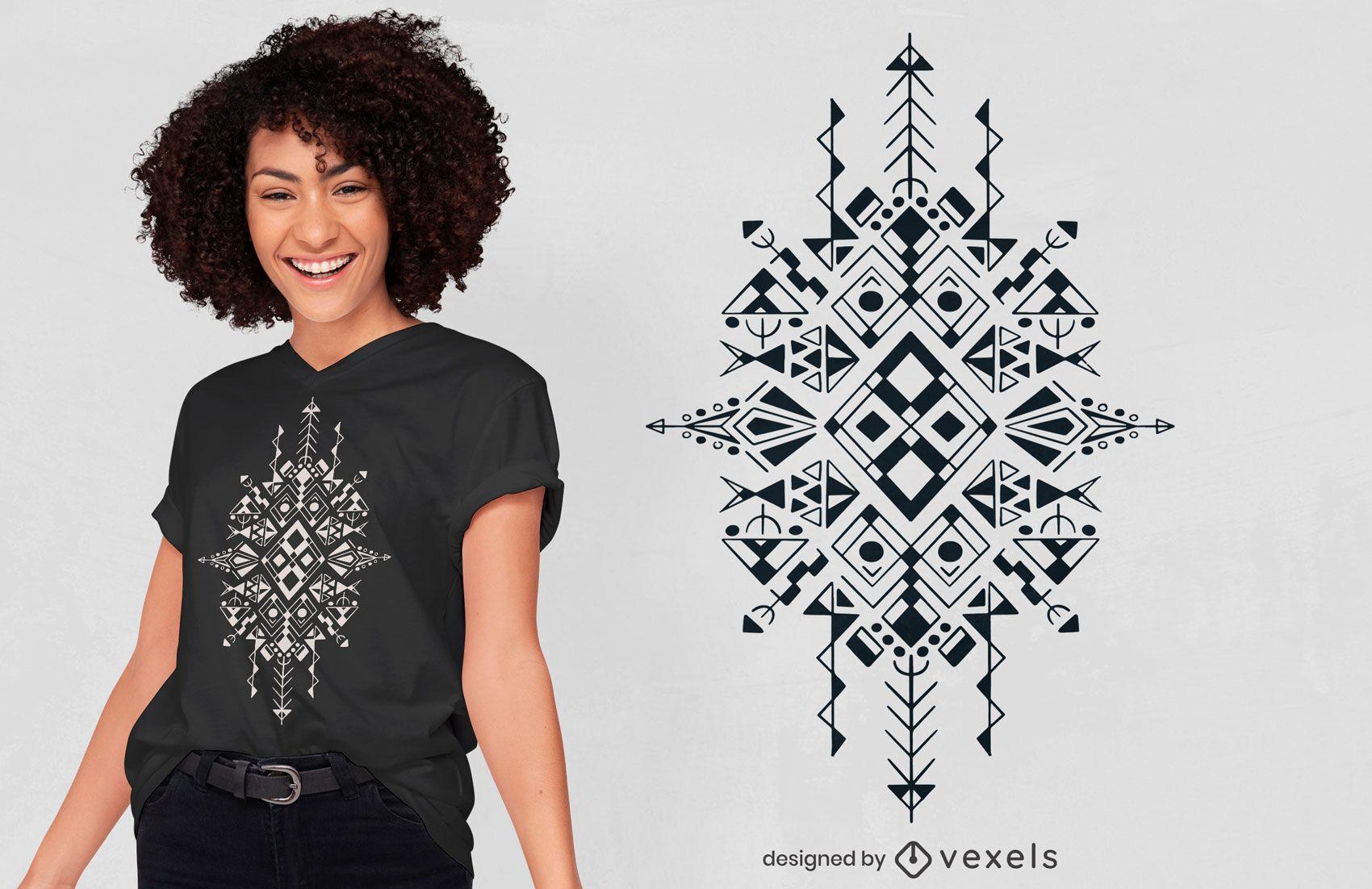 Diseño de camiseta de símbolo de líneas bereberes