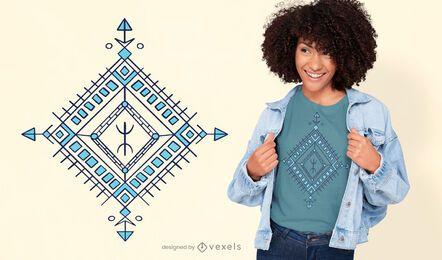 Diseño de camiseta de decoración bereber con forma de diamante.