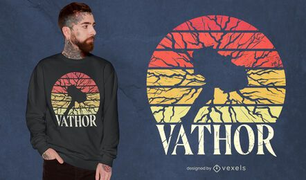 Diseño de camiseta viking hammer retro sunset