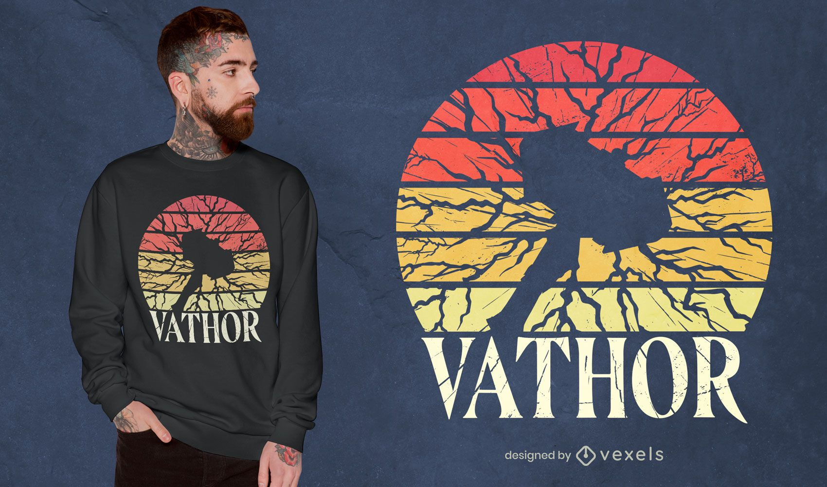 Desenho de camiseta retro do pôr do sol do martelo Viking