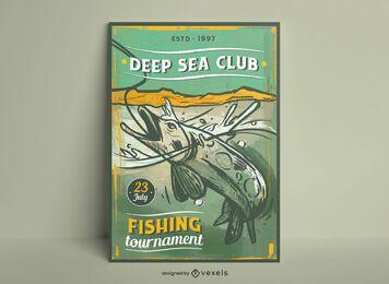 Design de poster vintage para passatempo de pesca
