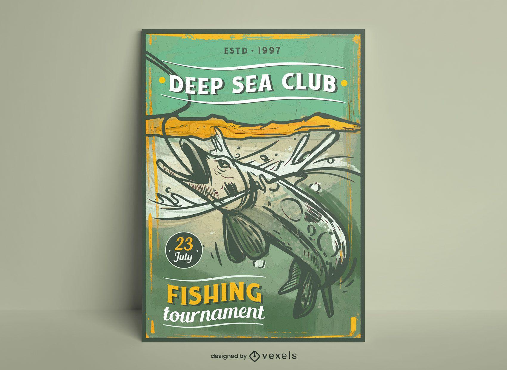 Fischen Hobby Vintage Poster Design