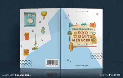 Diseño de portada de libro de recetas de productos para el hogar.
