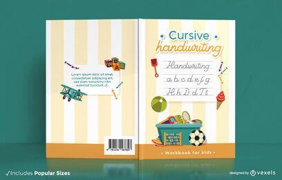 Design de capa de livro com caligrafia cursiva infantil