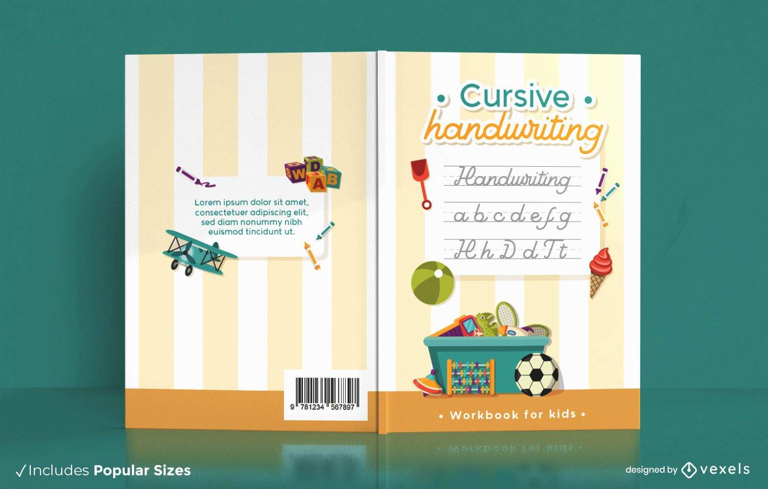 Childrens cursive handwriting book cover design